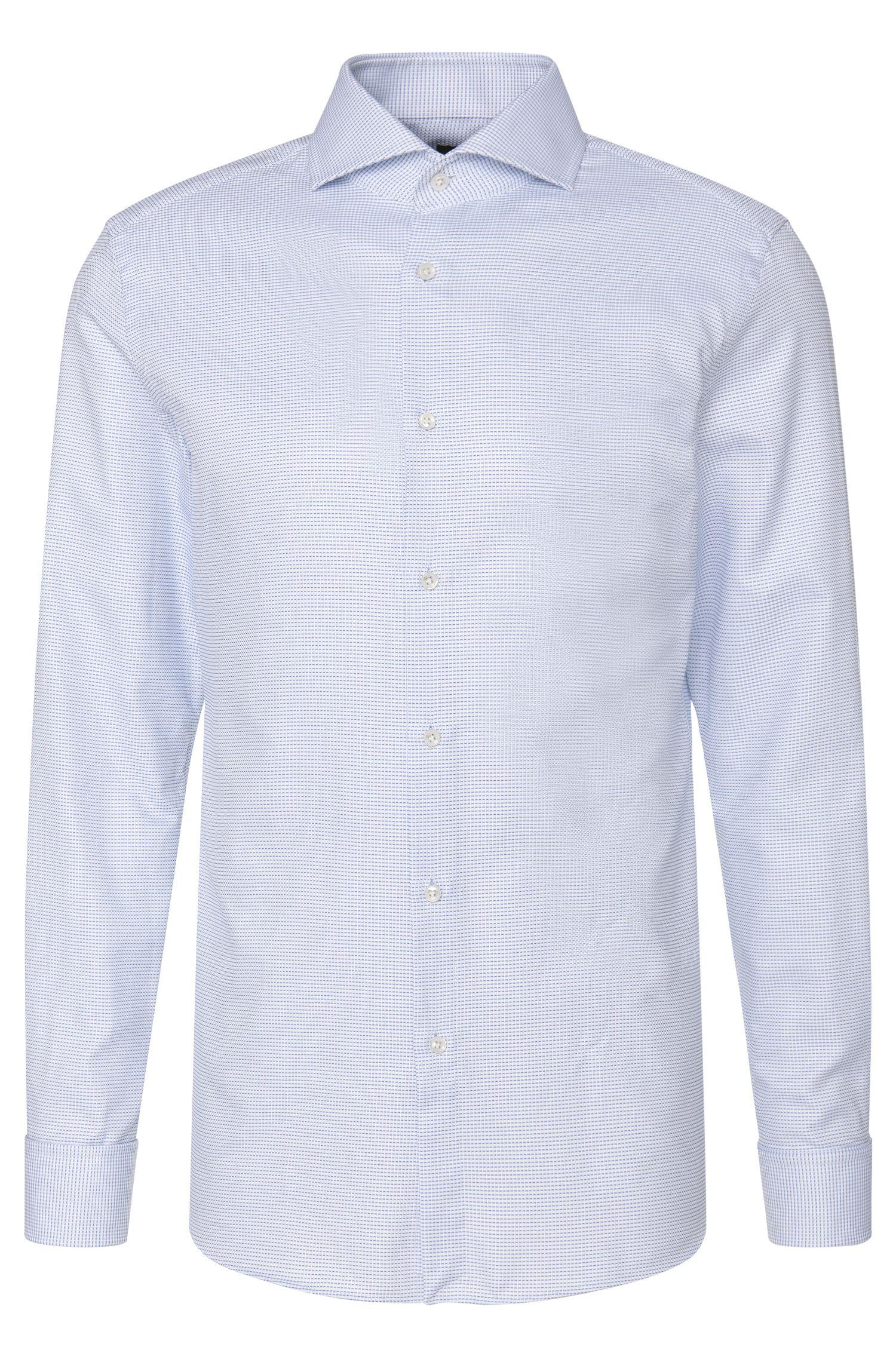 Dobby Italian Cotton Dress Shirt, Slim Fit  T-Yacob