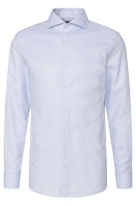 Dobby Italian Cotton Dress Shirt, Slim Fit  T-Yacob, Blue