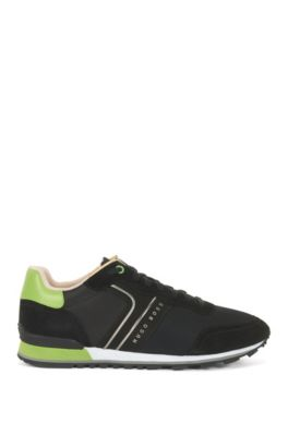 Lightweight lace-up sneakers in hybrid fabric, Black