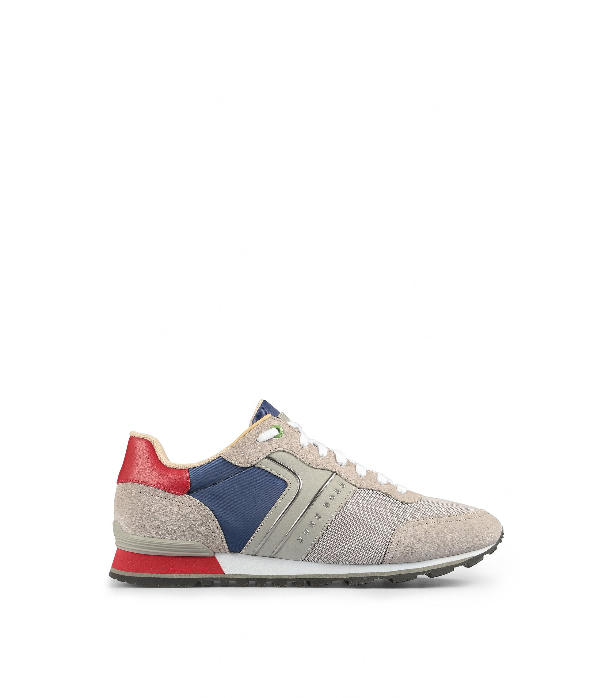 Lightweight lace-up sneakers in hybrid fabric, Light Grey