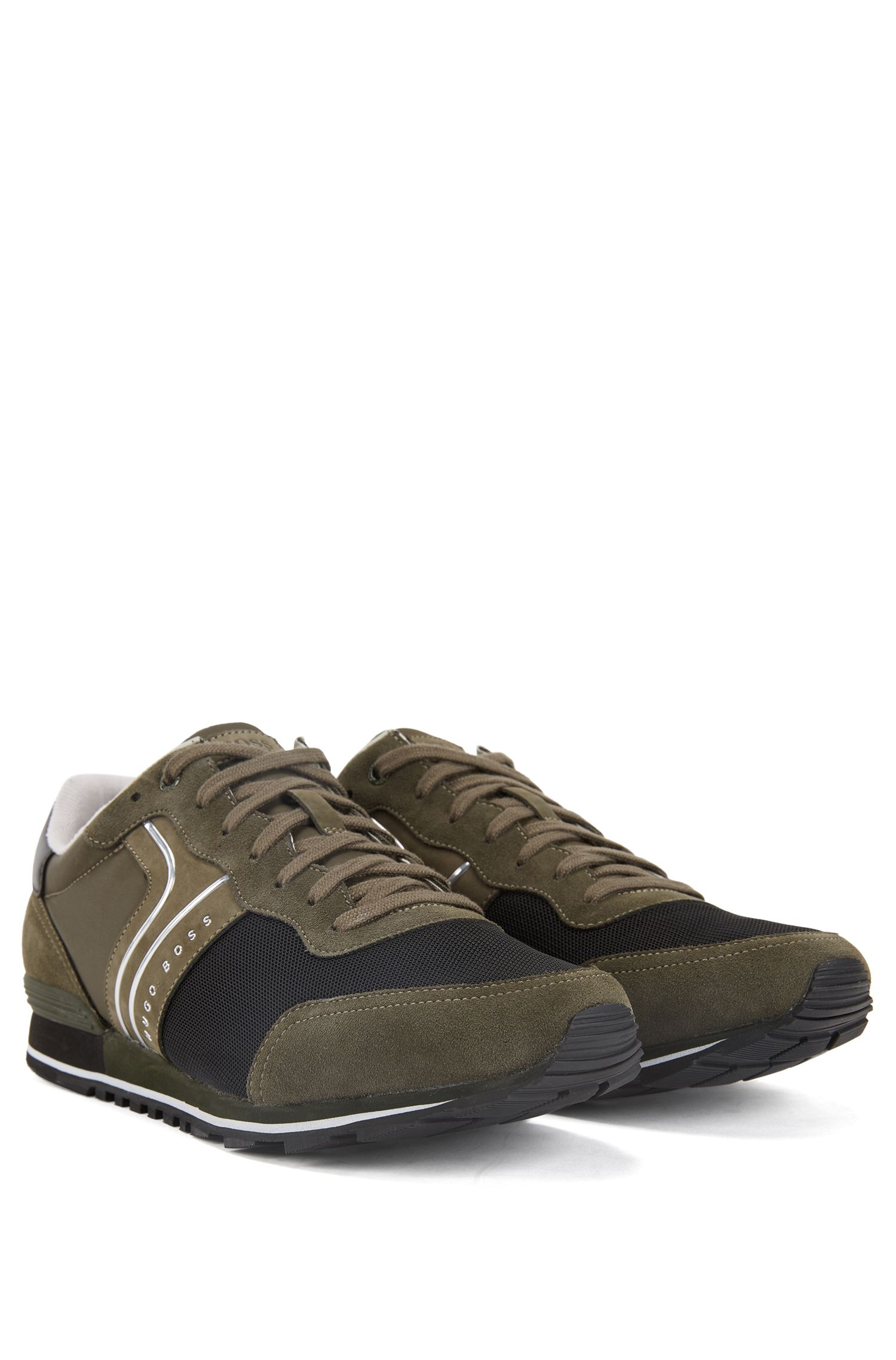 Lightweight lace-up sneakers in hybrid fabric, Dark Green