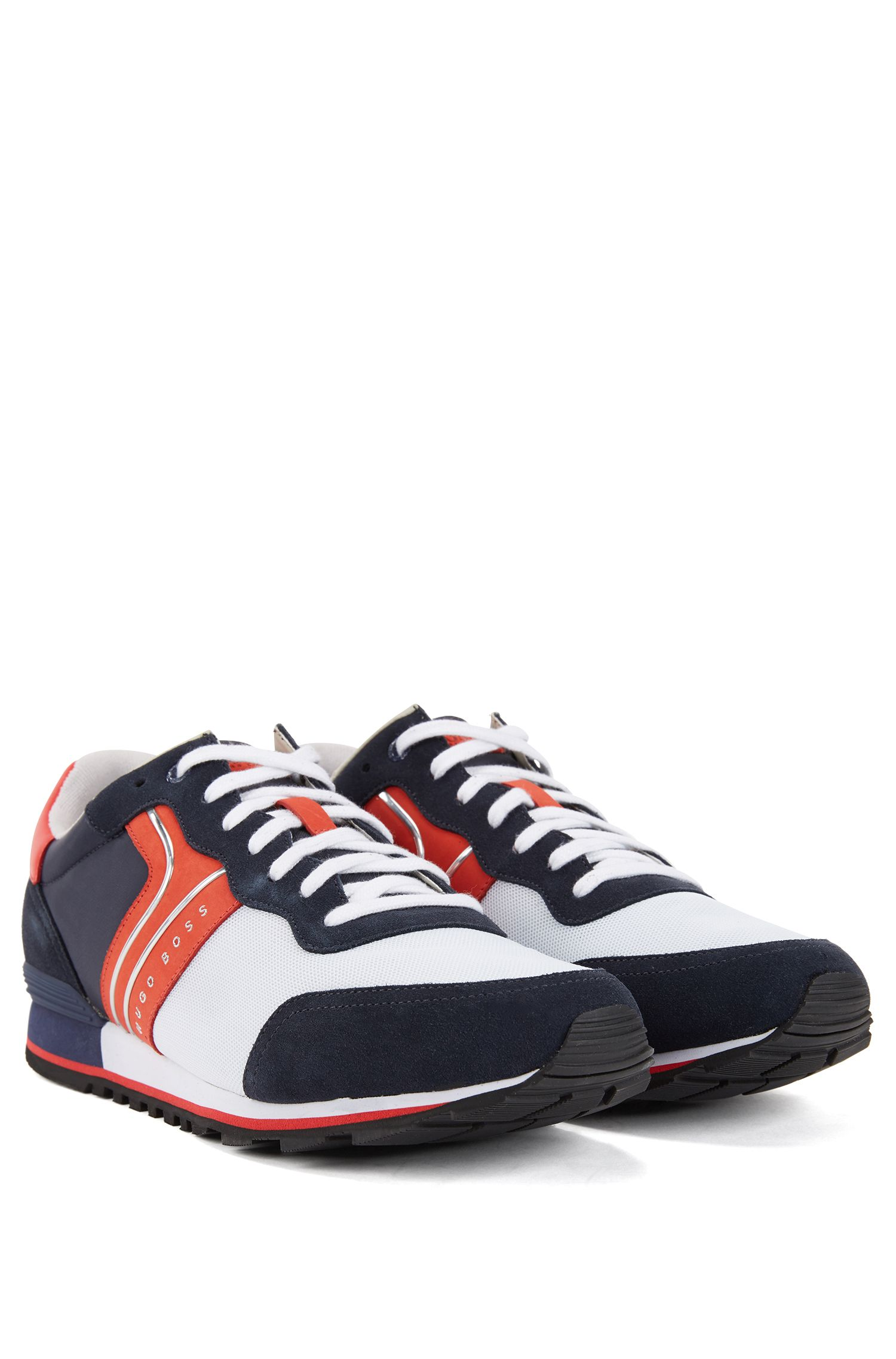 Lightweight lace-up sneakers in hybrid fabric, Open Blue