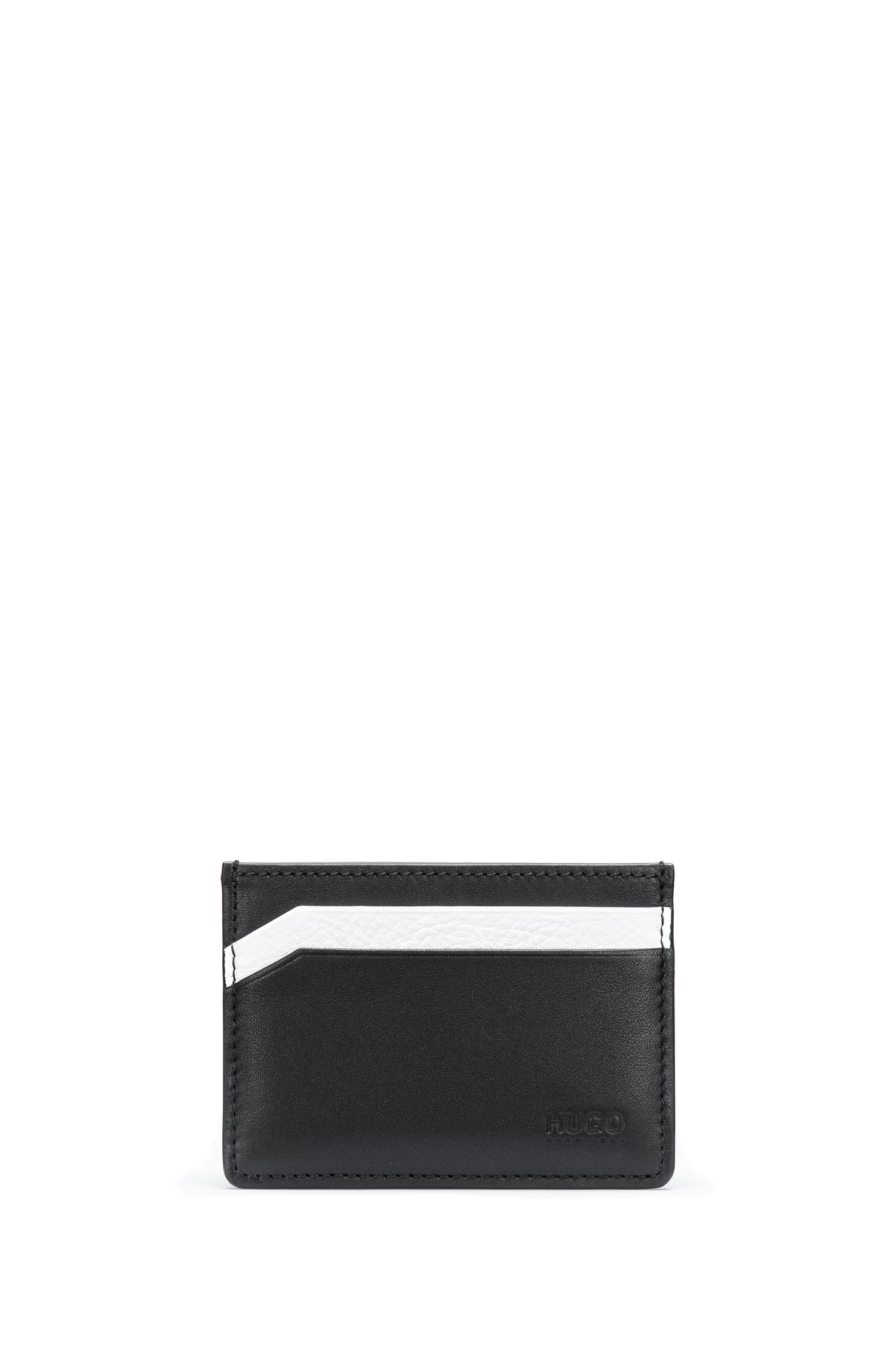 Four-slot card holder in smooth leather