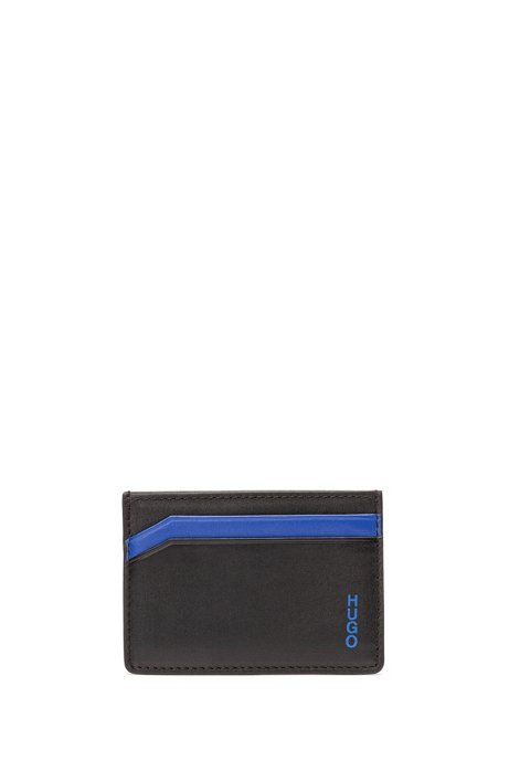 Four-slot card holder in smooth leather, Black