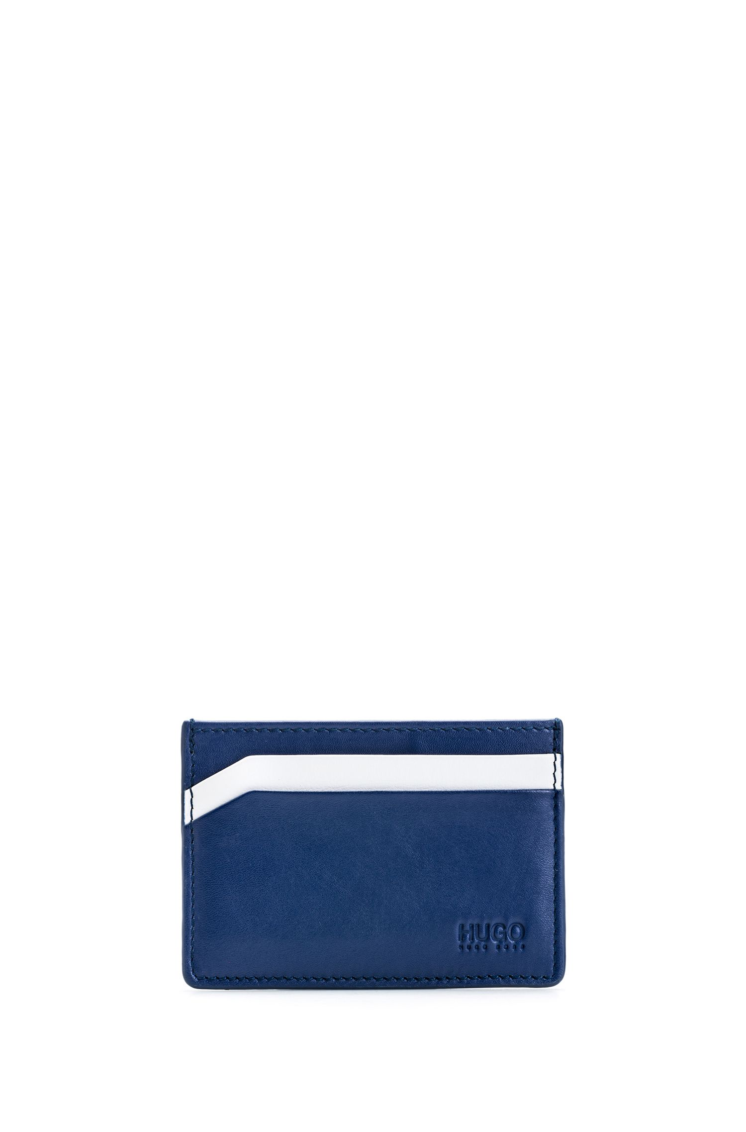 Four-slot card holder in smooth leather, Dark Blue