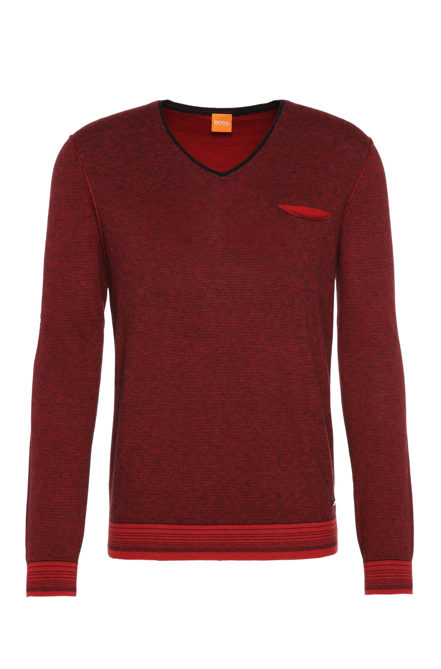 'Kerpen' | Cotton Virgin Wool Finestripe Sweater