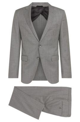 Glen Plaid Virgin Wool Plaid Suit, Slim Fit | Nortan/Benno, Grey