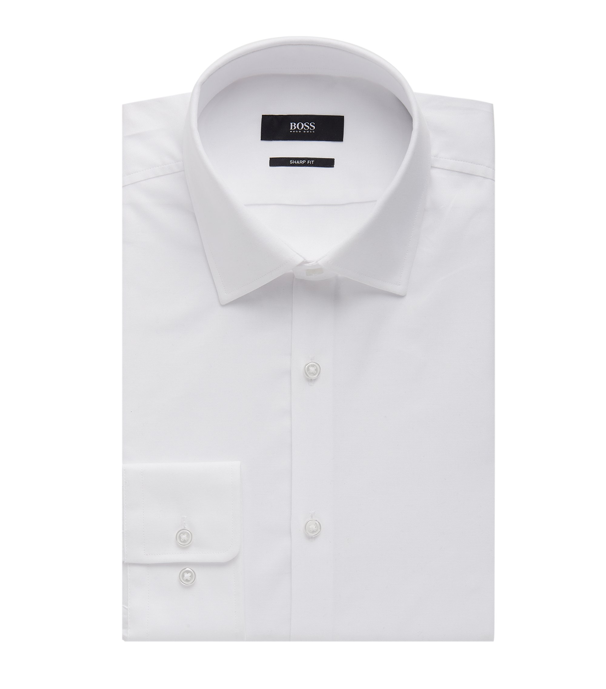 Nailhead Cotton Dress Shirt, Sharp Fit | Marley US, White