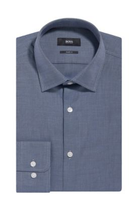 Nailhead Cotton Dress Shirt, Sharp Fit | Marley US, Dark Blue