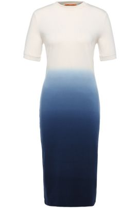 'Dipda' | Stretch Cotton Blend Terry Dress, Dark Blue