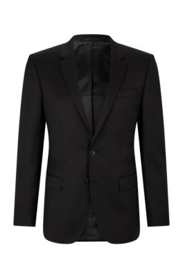 Slim-fit jacket in virgin wool, Black