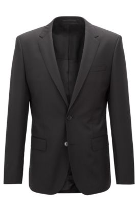 Italian Super 120 Virgin Wool Sport Coat, Slim Fit | Hayes CYL, Black