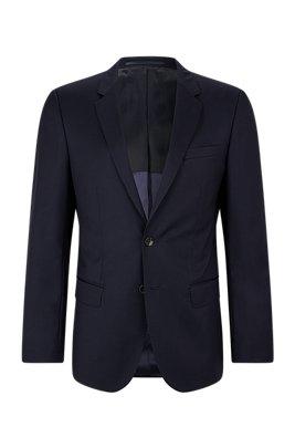 Slim-fit jacket in virgin wool, Dark Blue
