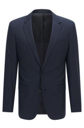 Italian Super 120 Virgin Wool Sport Coat, Slim Fit | Hayes CYL, Dark Blue