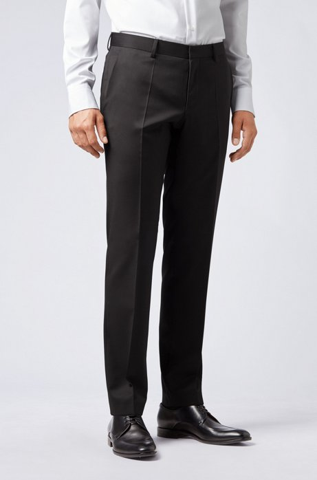 Slim-fit pants in pure virgin wool, Black