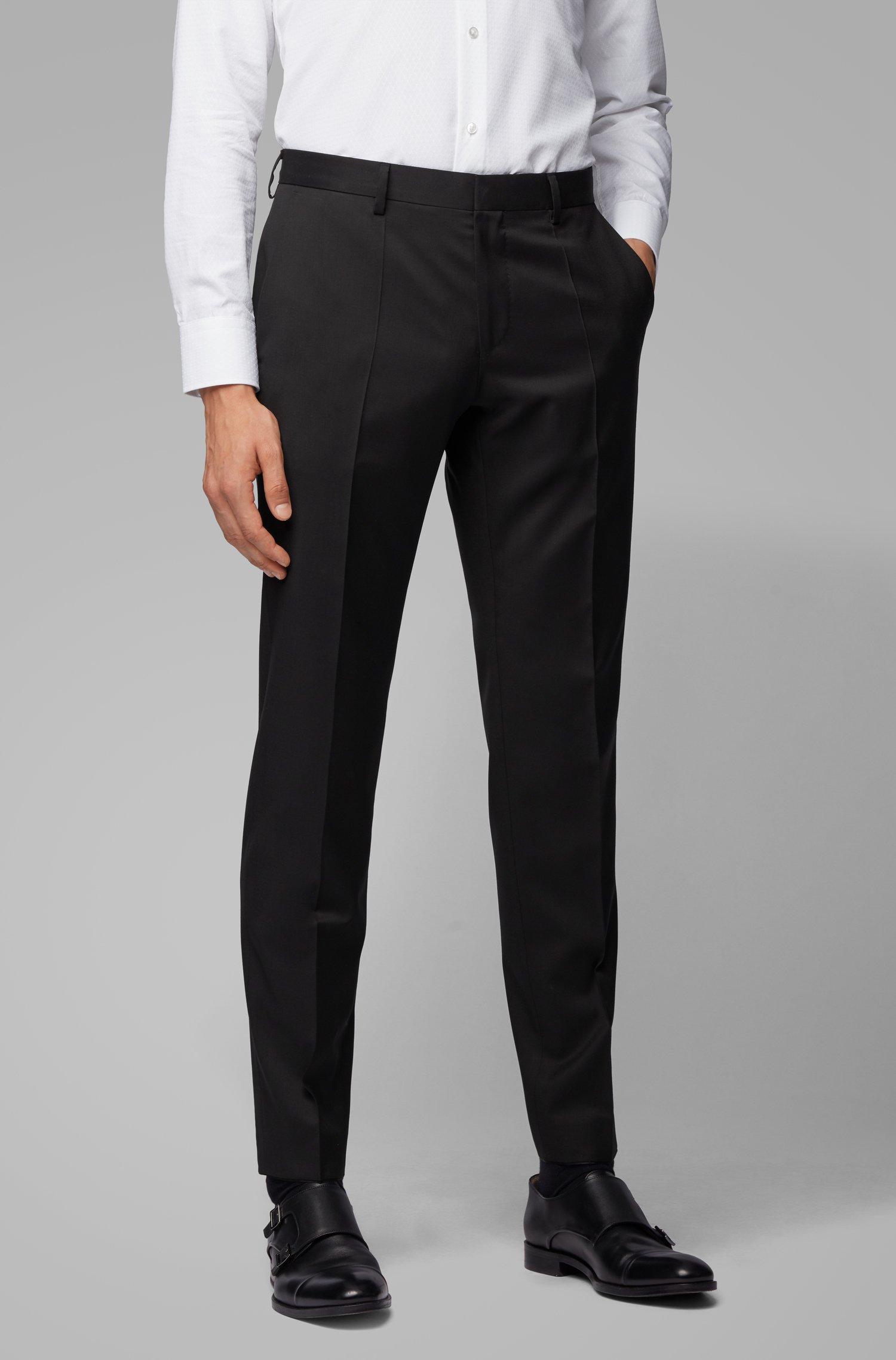 Slim-fit pants in pure virgin wool, Black