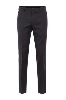 Slim-fit pants in pure virgin wool, Dark Grey