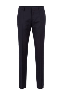 Slim-fit pants in pure virgin wool, Dark Blue