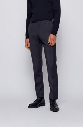 Slim-fit pants in pure virgin wool, Dark Blue