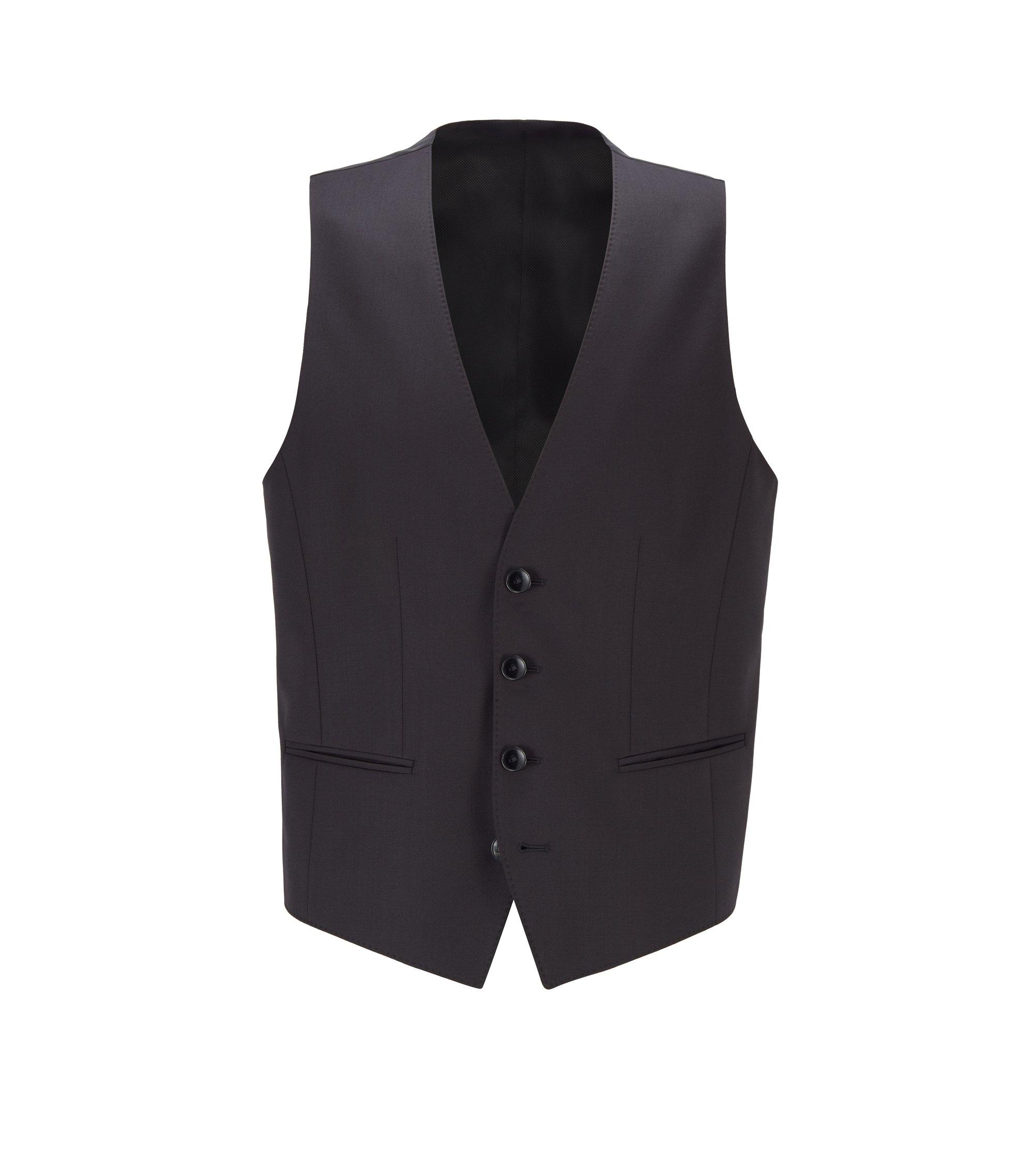Virgin Wool Waistcoat, Slim Fit | Wilson CYL, Black