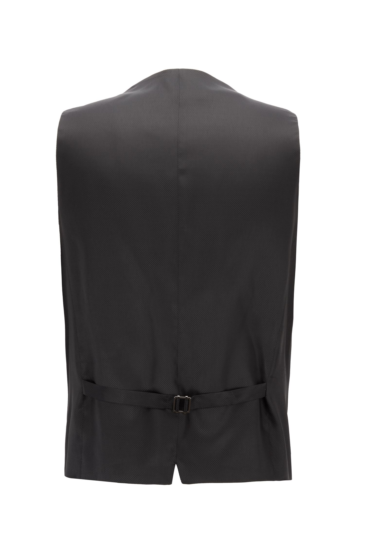 Virgin Wool Waistcoat, Slim Fit | Wilson CYL, Black
