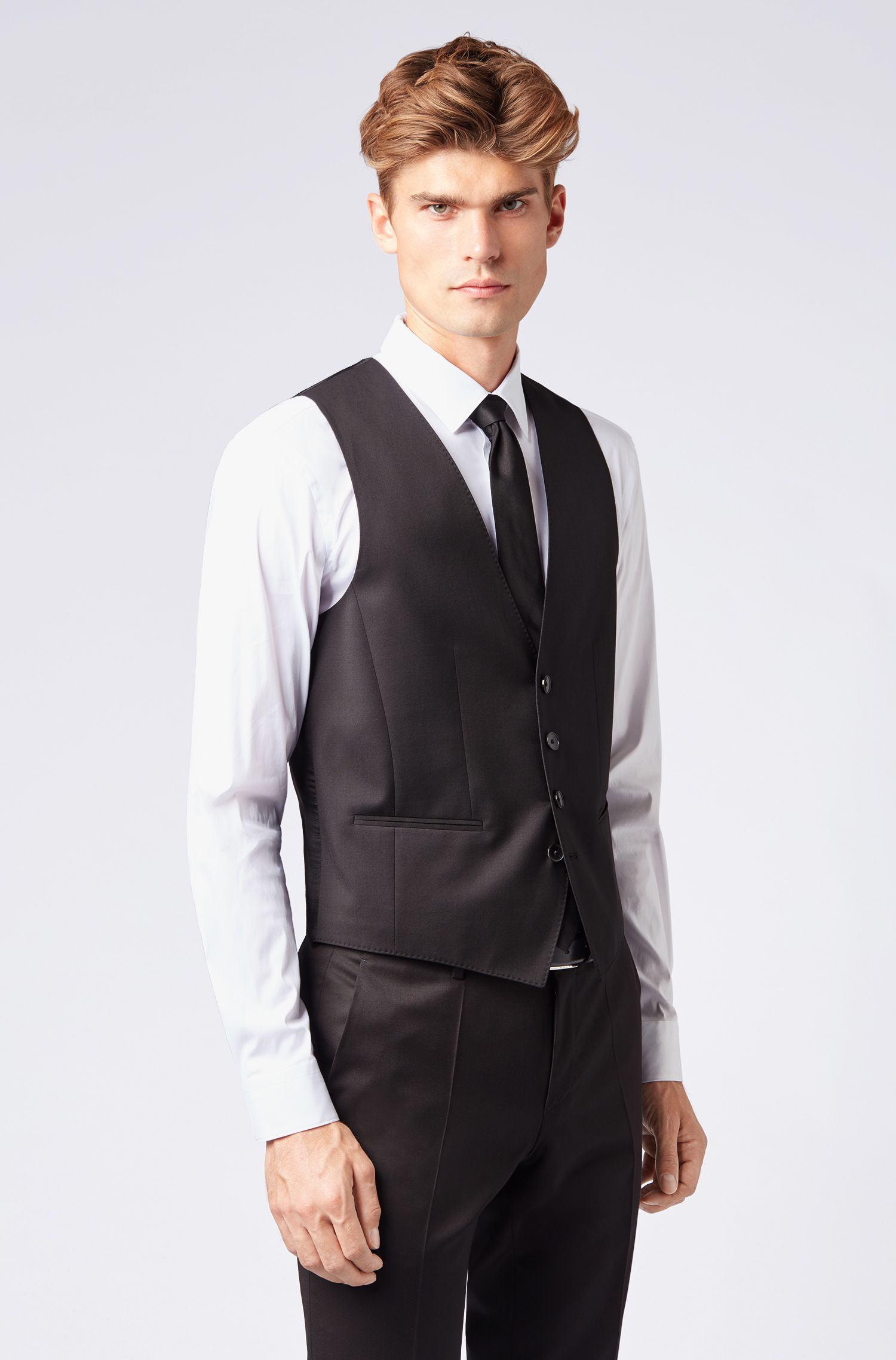Slim-fit waistcoat in virgin wool, Black