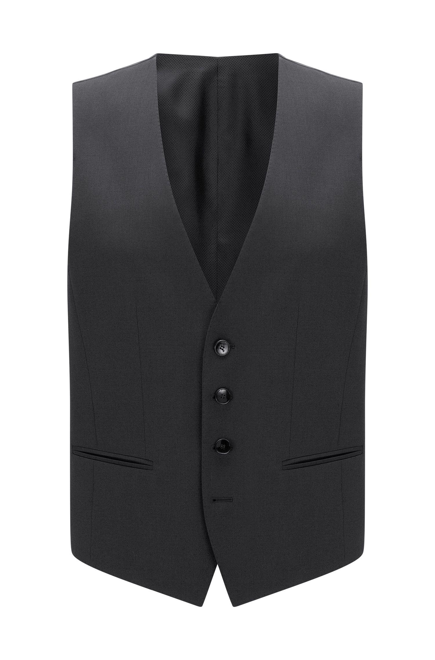Virgin Wool Waistcoat, Slim Fit   Wilson CYL, Dark Grey