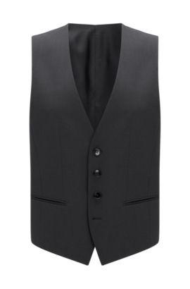 Virgin Wool Waistcoat, Slim Fit | Wilson CYL, Dark Grey