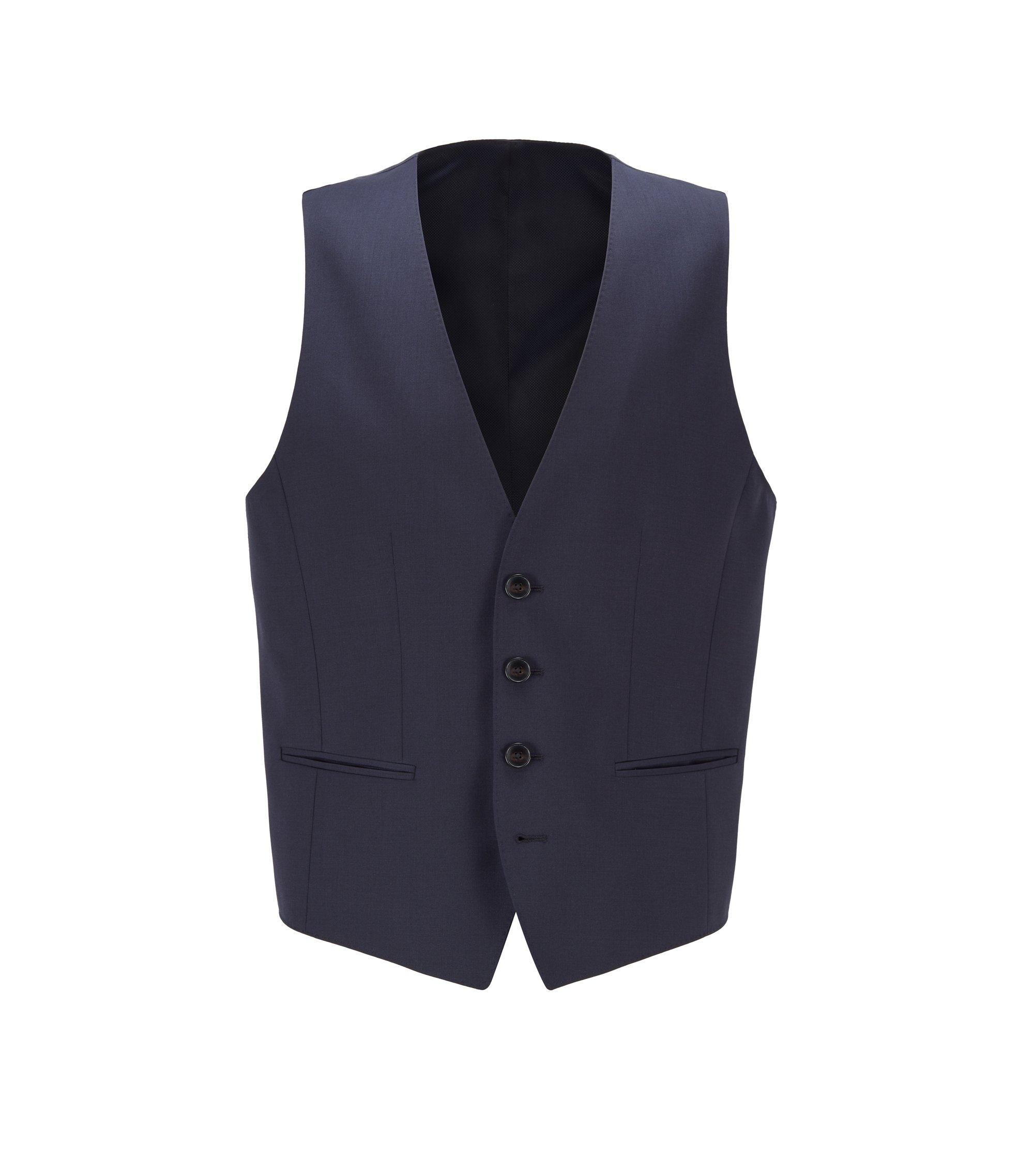 Virgin Wool Waistcoat, Slim Fit | Wilson CYL, Dark Blue