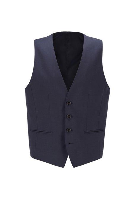 Gilet Slim Fit en laine vierge naturellement stretch, Bleu foncé