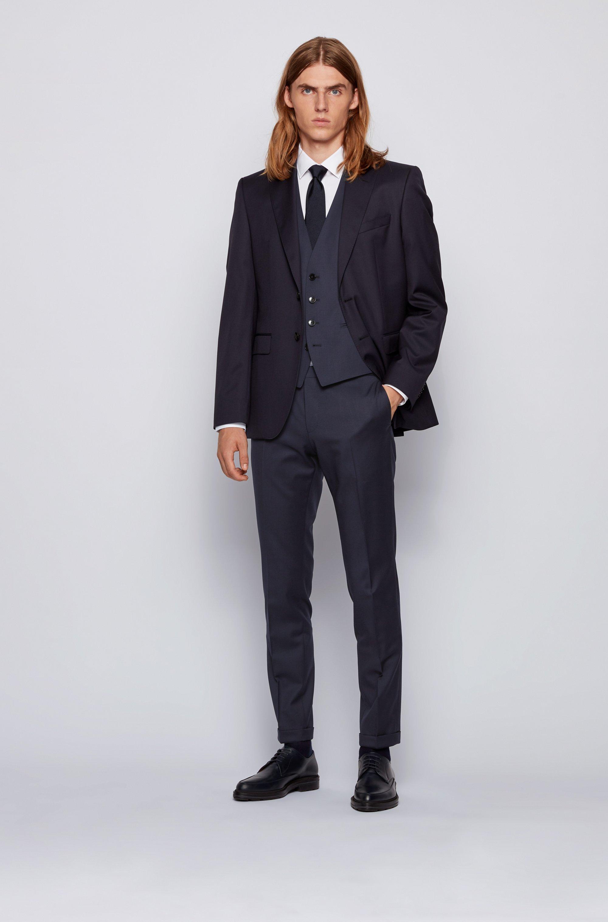 Slim-fit waistcoat in virgin wool