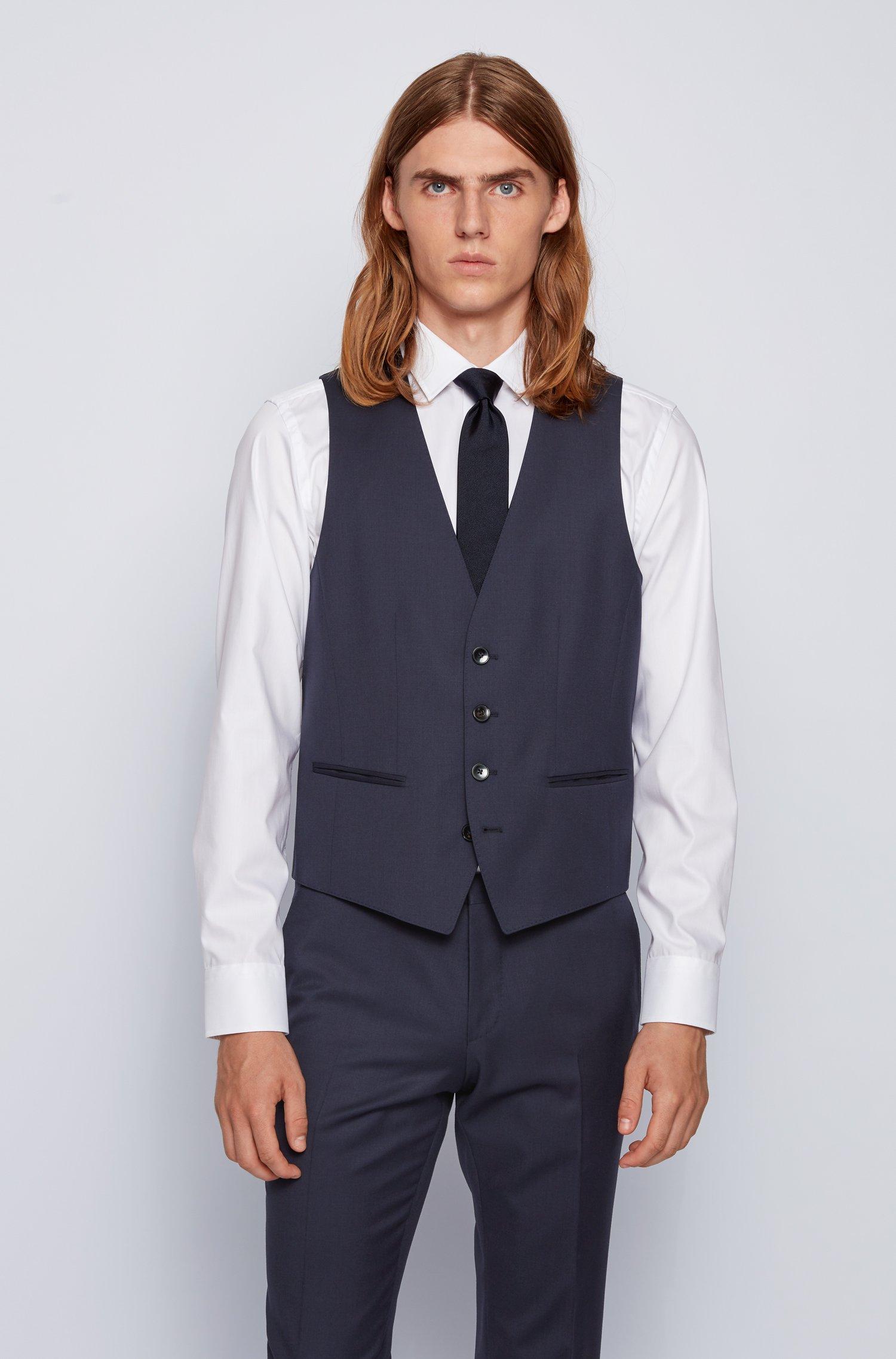 Slim-fit waistcoat in virgin wool, Dark Blue