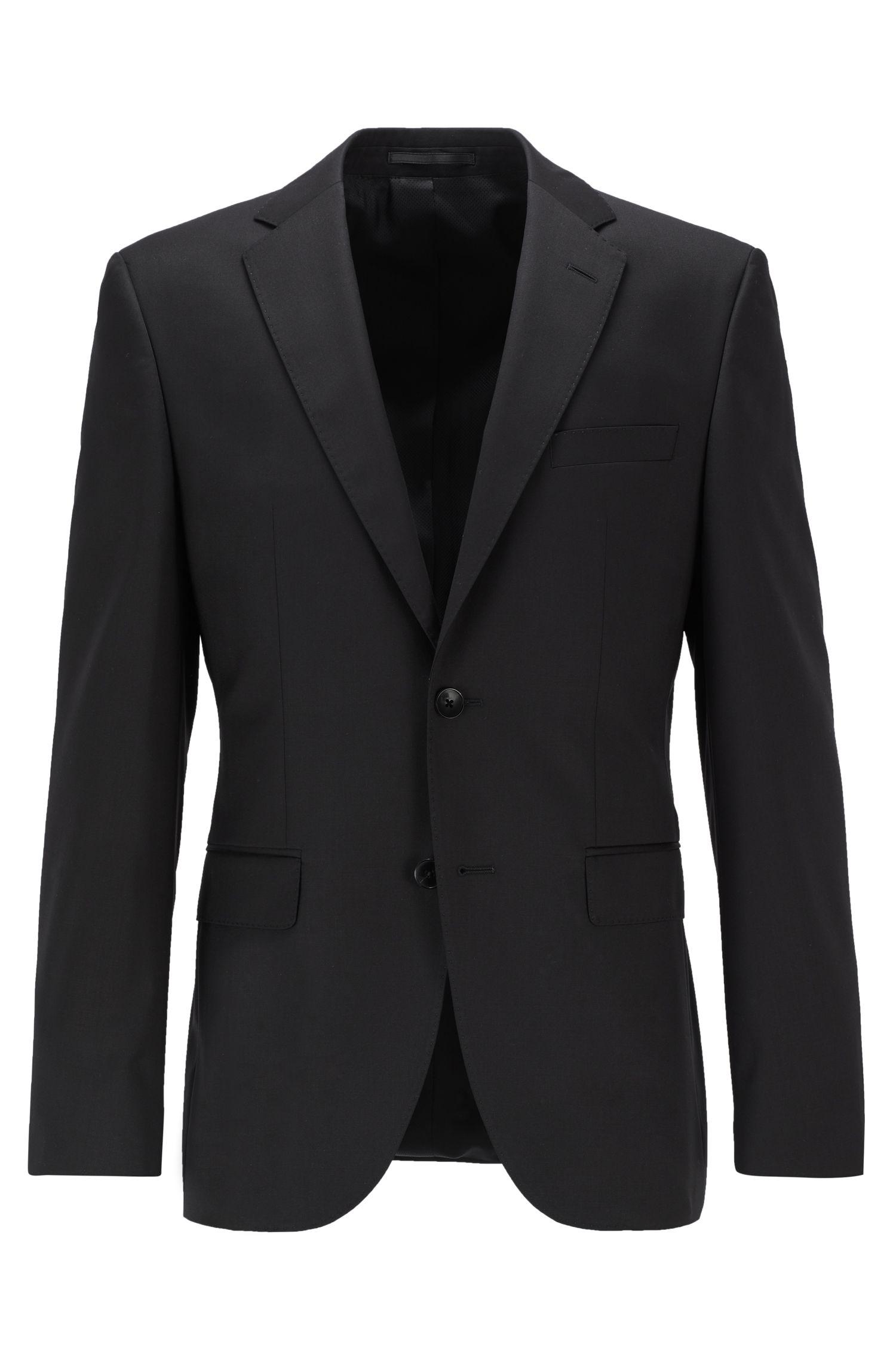 Regular-fit virgin wool jacket with AMF stitching, Black