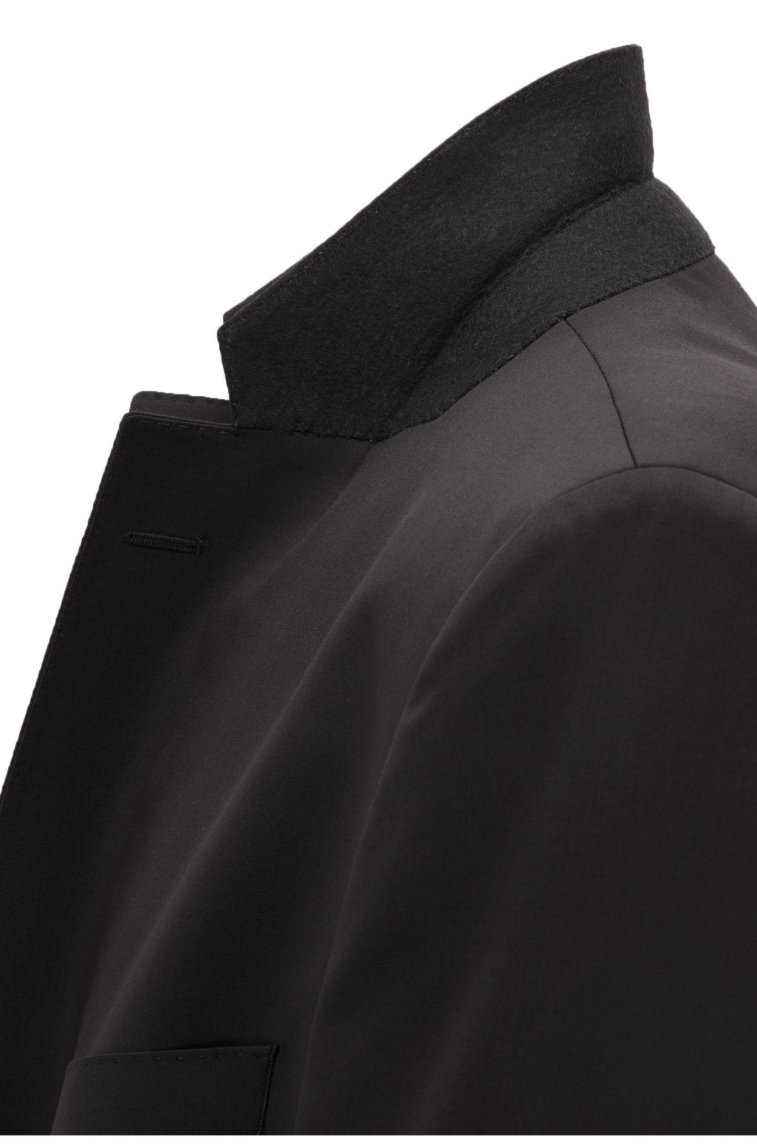 Italian Virgin Wool Sport Coat, Regular Fit | Johnstons CYL, Black