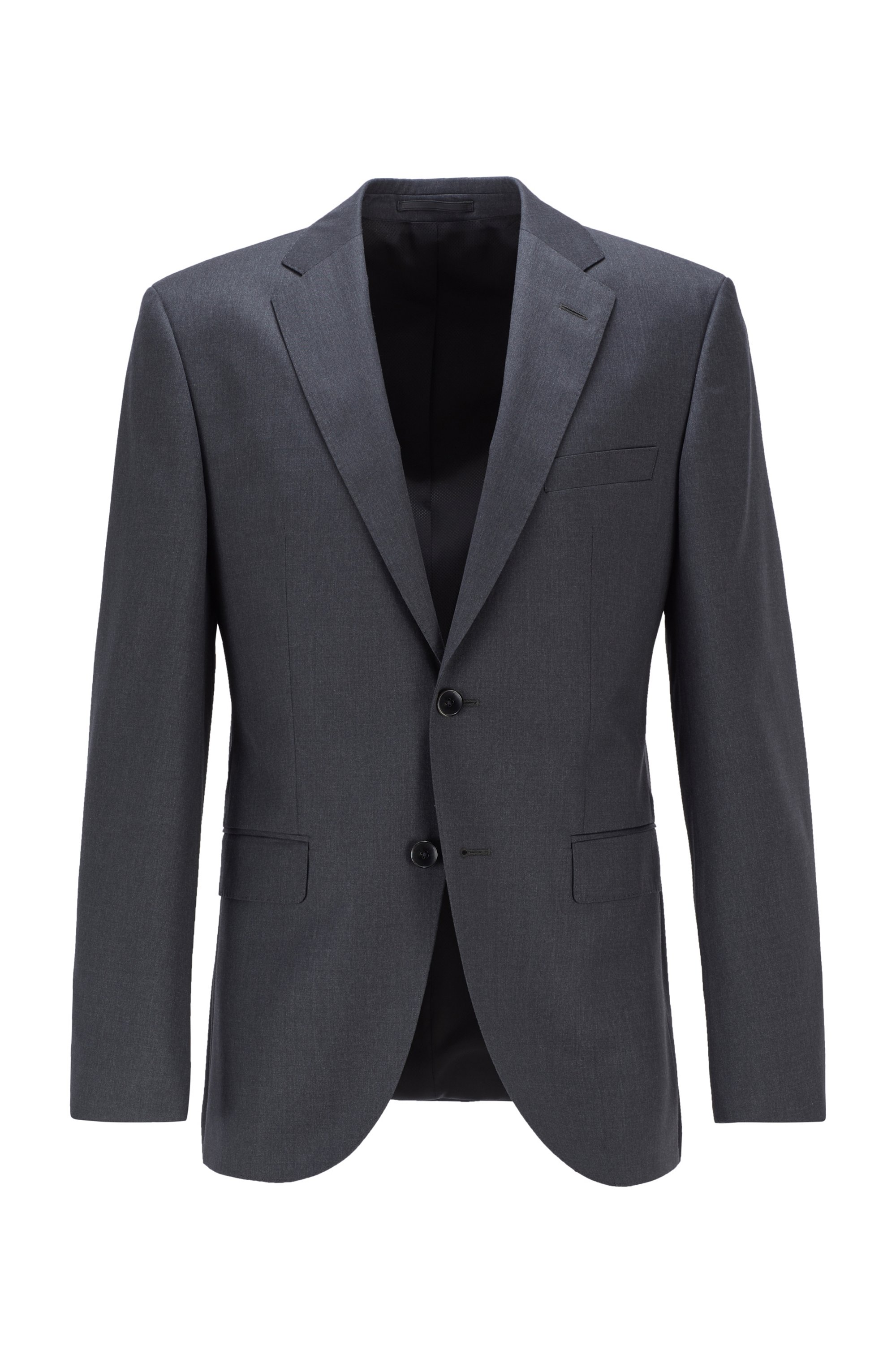 Regular-fit virgin wool jacket with AMF stitching, Dark Grey