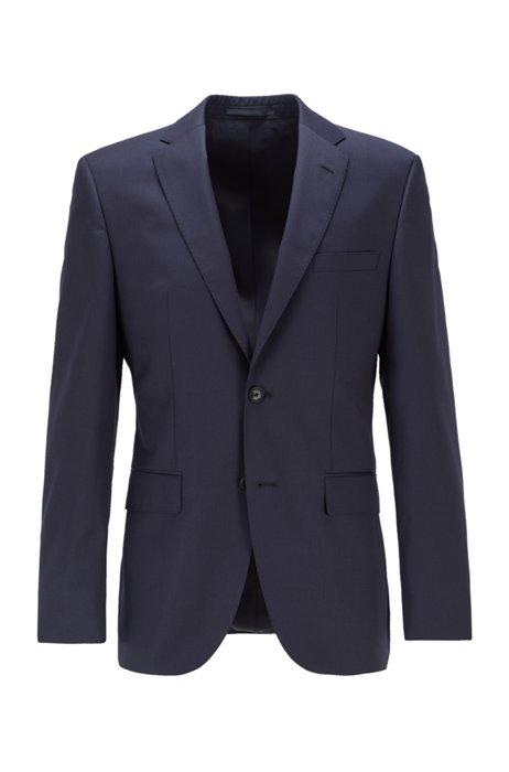 Veste Regular Fit en sergé de laine vierge à surpiqûres AMF, Bleu foncé