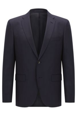 Italian Super 120 Virgin Wool Sport Coat, Regular Fit | Johnstons CYL, Dark Blue