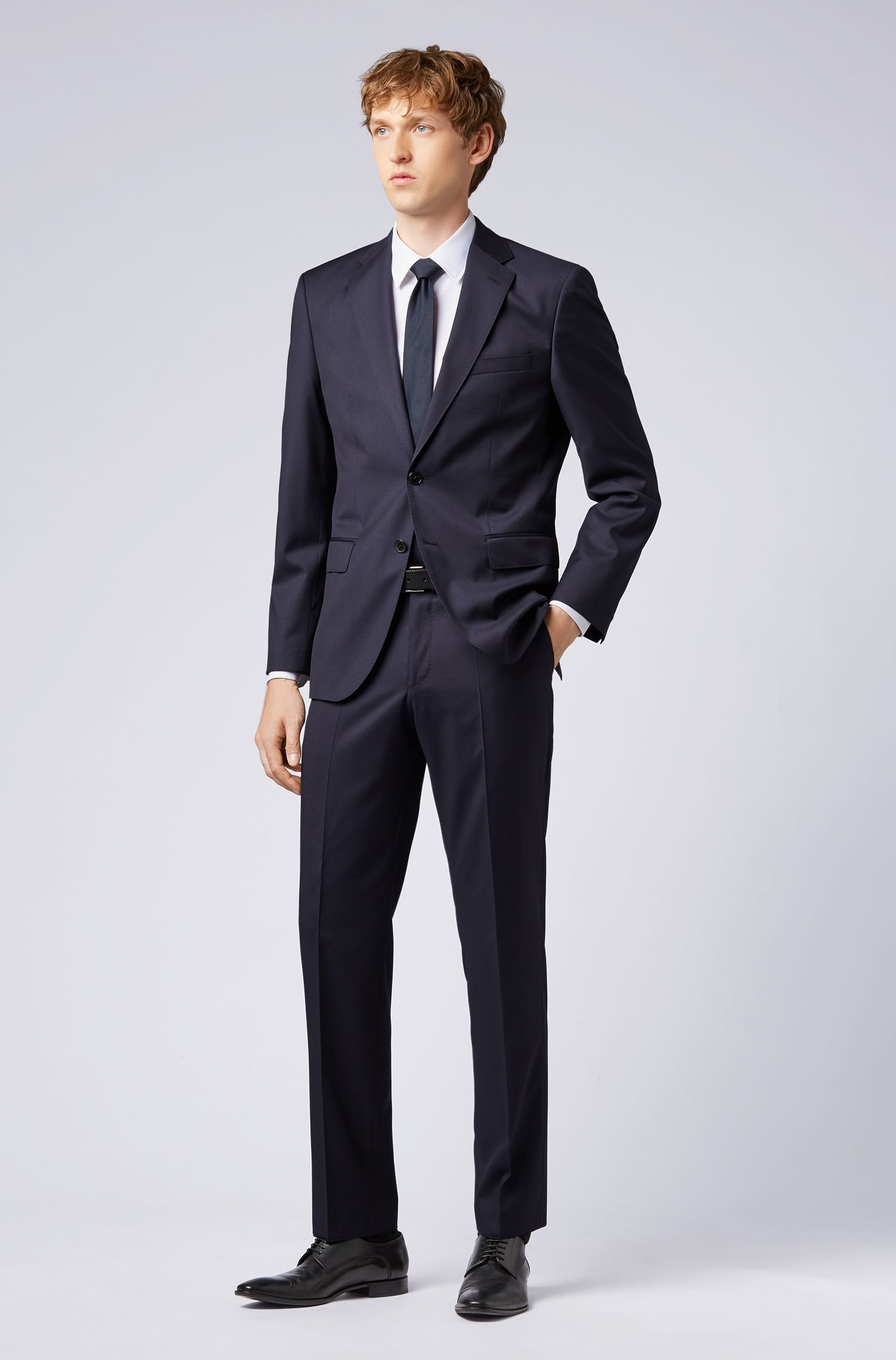Italian Virgin Wool Sport Coat, Regular Fit | Johnstons CYL, Dark Blue