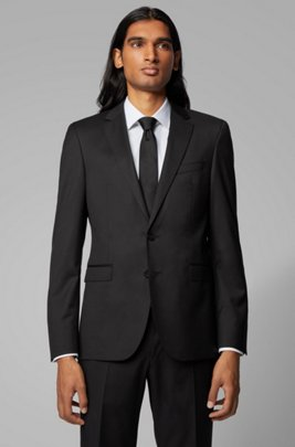 Extra-slim-fit jacket in pure wool, Black