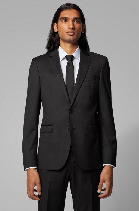 Extra-slim-fit jacket in pure wool, Black