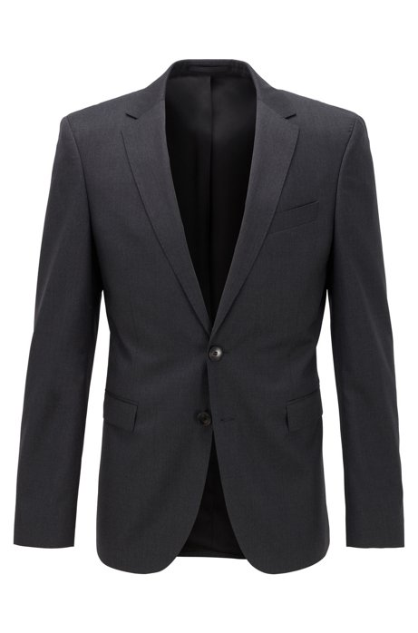 Extra-slim-fit jacket in pure wool, Dark Grey
