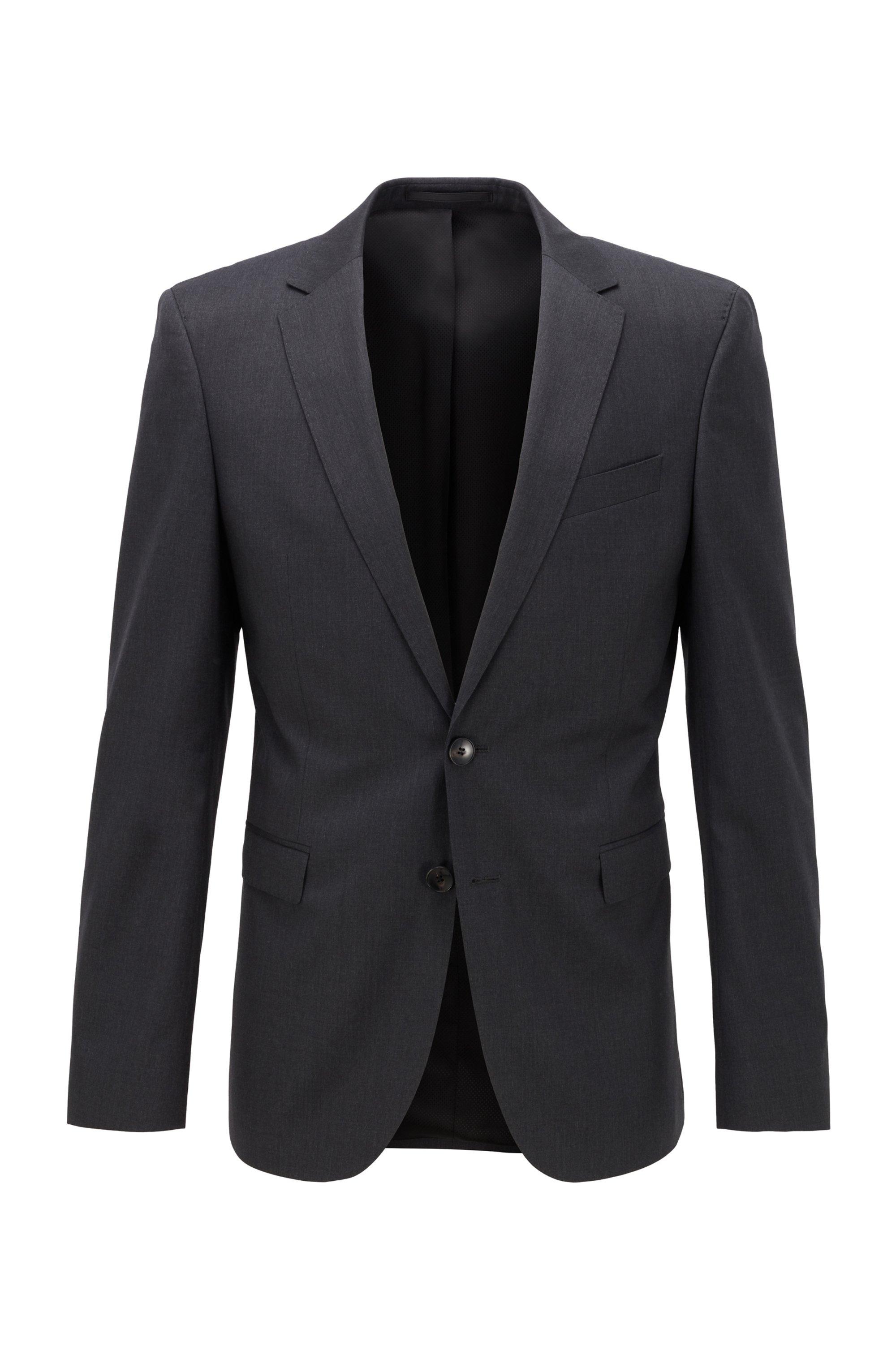 Extra-slim-fit jacket in pure wool, Dark Grey