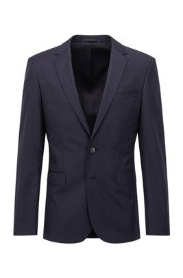 Extra-slim-fit jacket in pure wool, Dark Blue