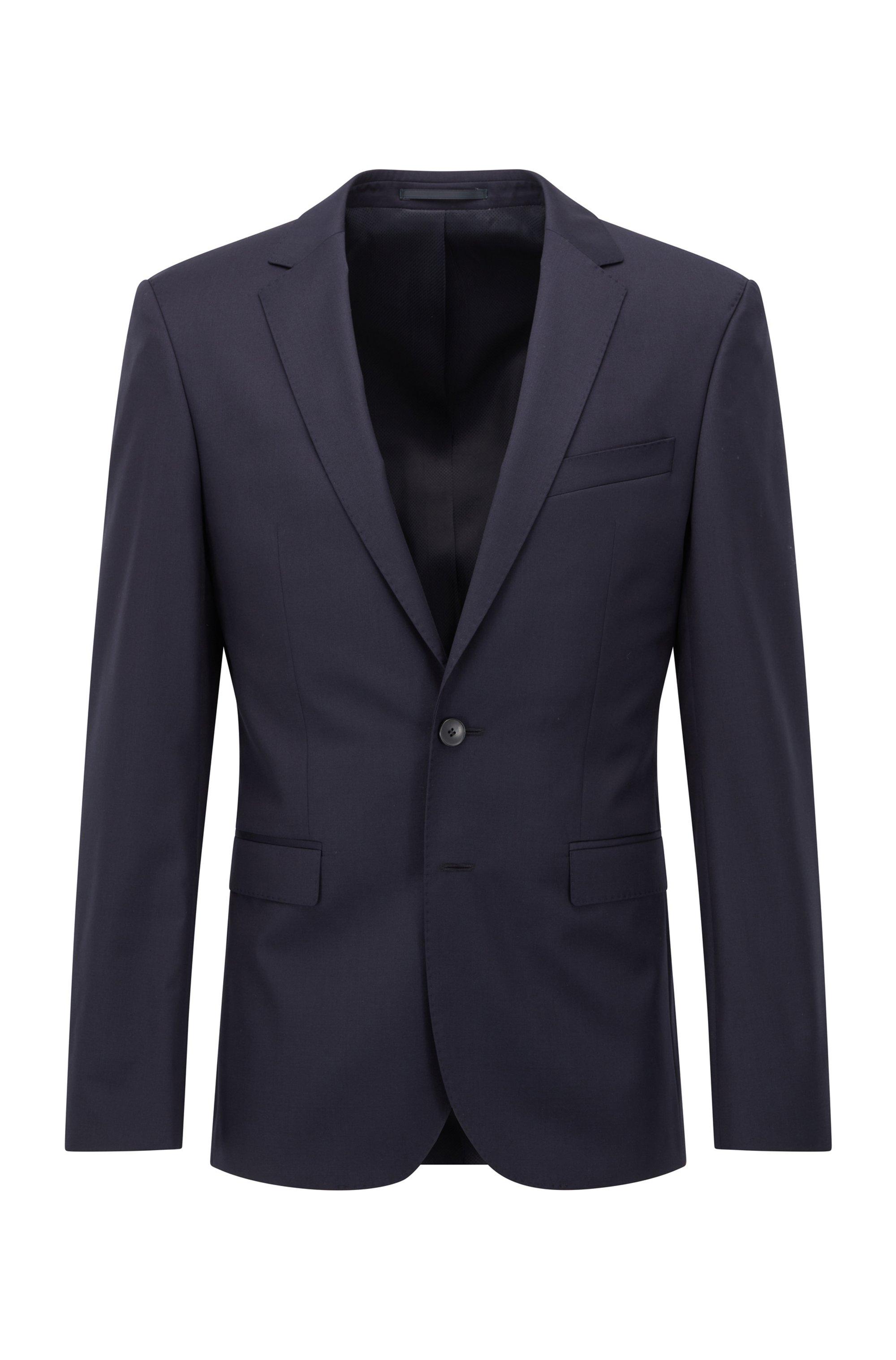 Extra-slim-fit jacket in pure wool, Dark Blue
