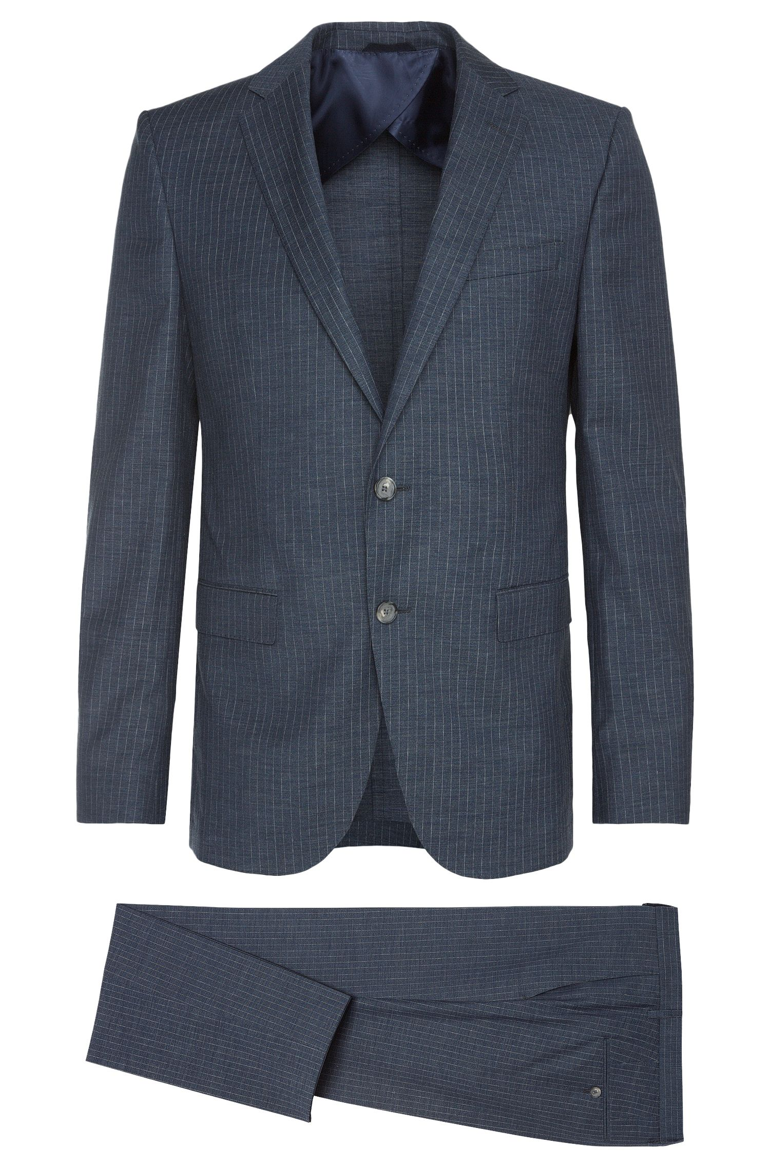 Virgin Wool Cotton Pinstripe Suit, Slim Fit | Nortan/Benno