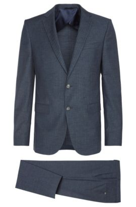 Virgin Wool Cotton Pinstripe Suit, Slim Fit | Nortan/Benno, Open Blue