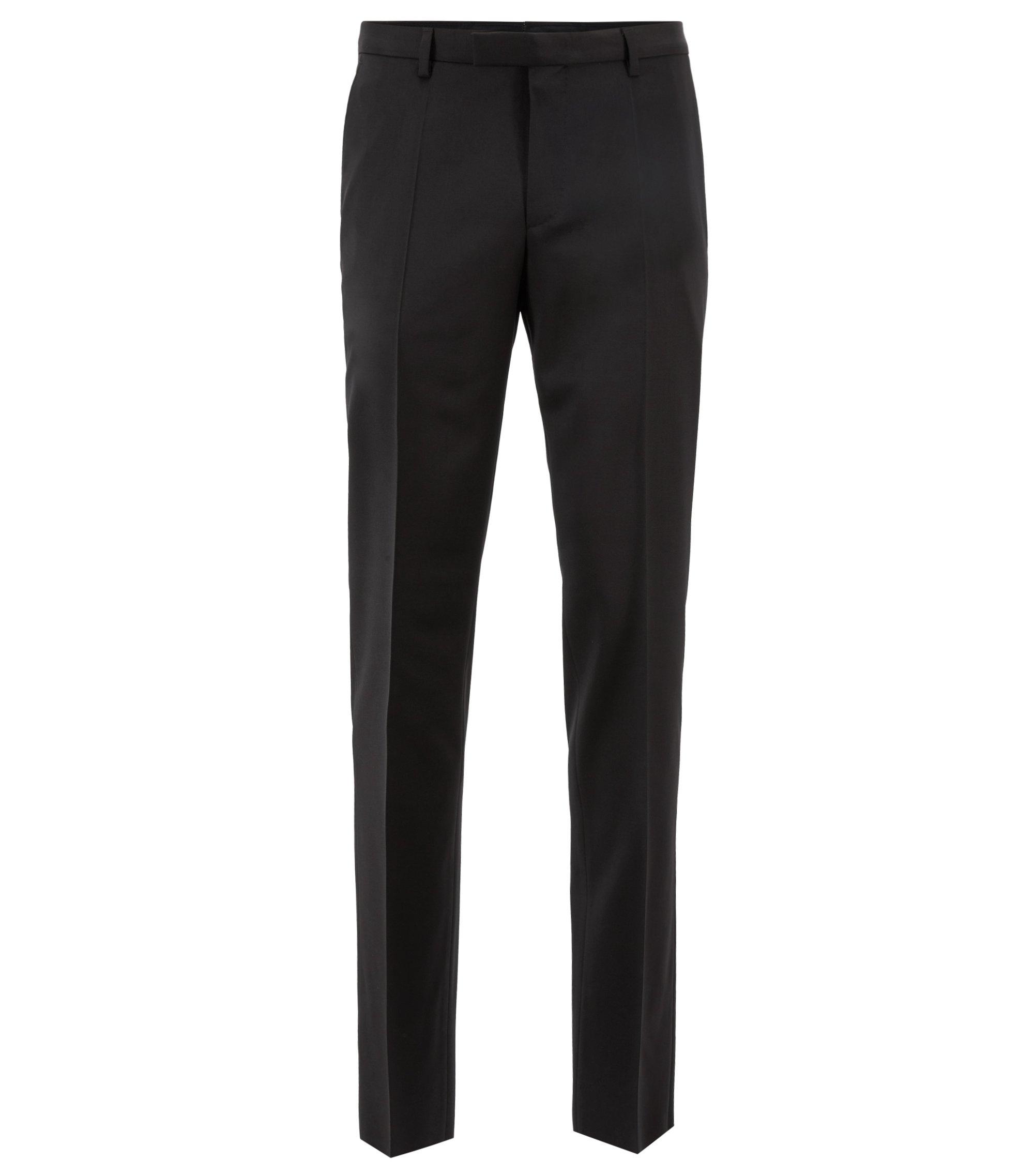 Virgin Wool Dress Pants, Regular Fit | Lenon CYL, Black