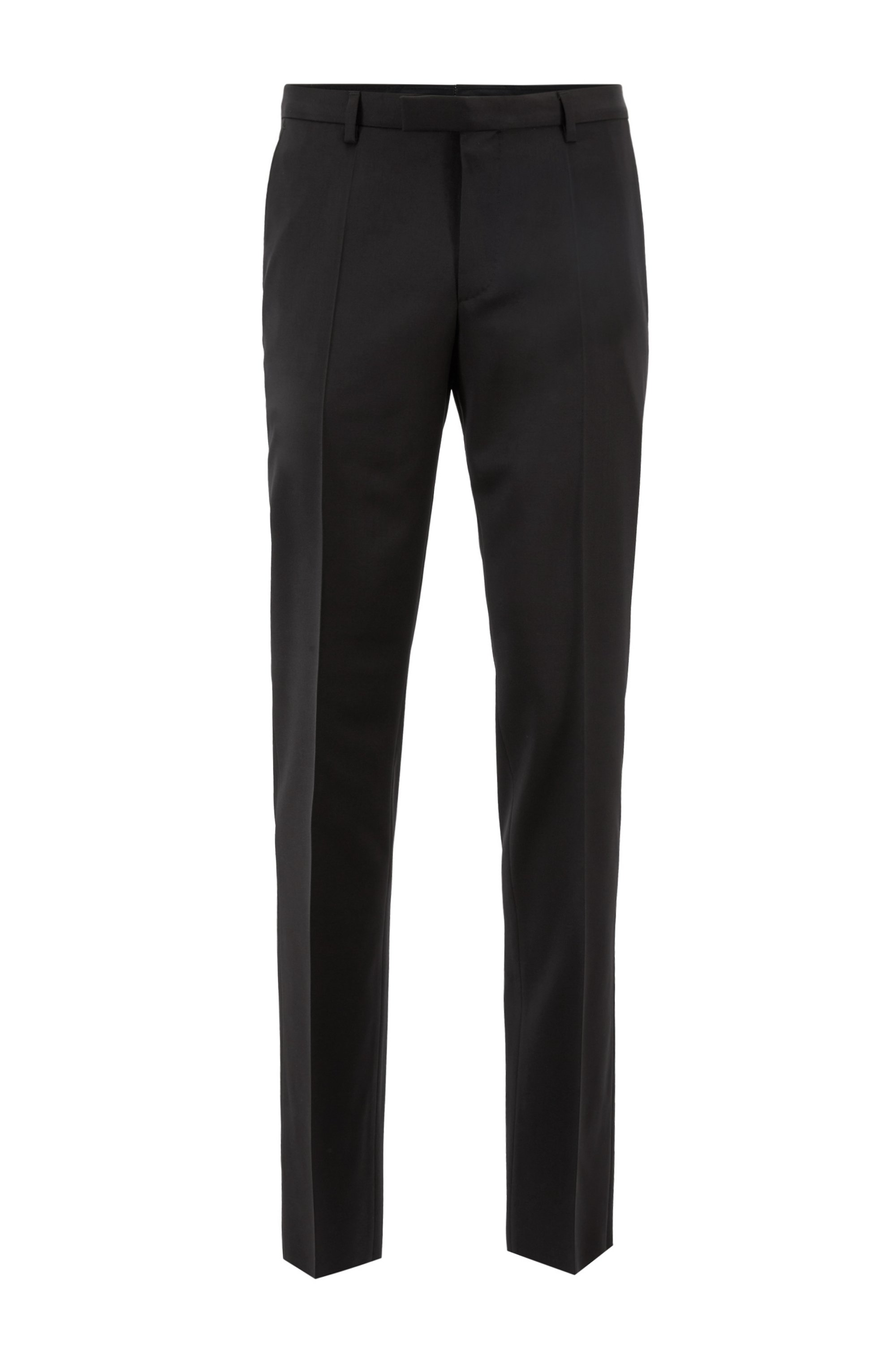 Straight-leg business pants in virgin wool, Black
