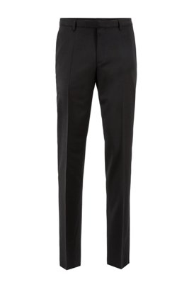 Straight-leg business pants in virgin wool, Black