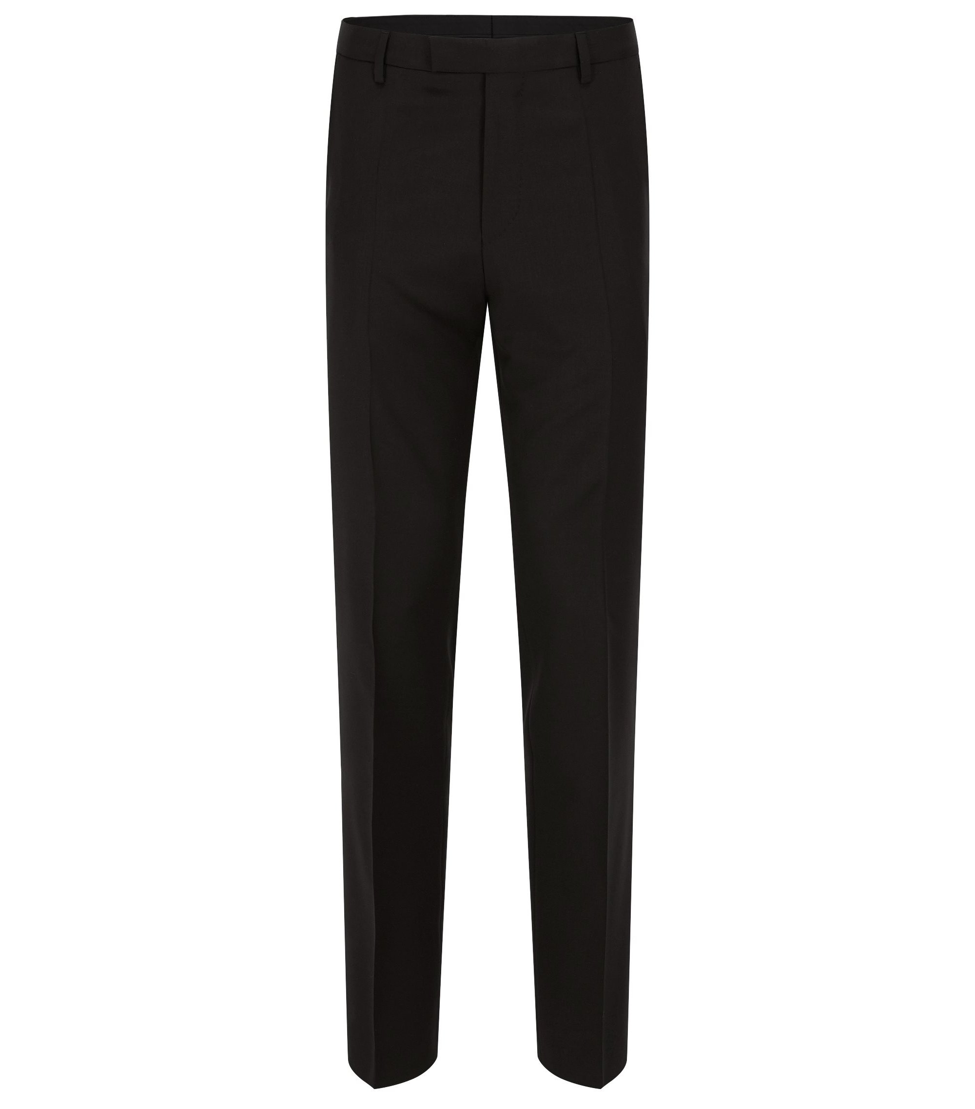 Virgin Wool Dress Pants, Regular Fit | Lenon CYL, Black